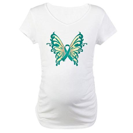Ovarian Cancer Butterfly Maternity T-Shirt