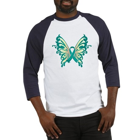 Ovarian Cancer Butterfly Baseball Jersey