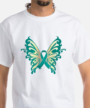 Cervical Cancer Butterfly White T-Shirt