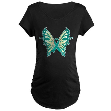 Cervical Cancer Butterfly Maternity Dark T-Shirt