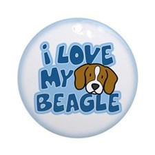 I Love my Beagle Ornament (Cartoon)