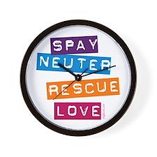 Spay Neuter Rescue Love Wall Clock