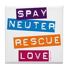 Spay Neuter Rescue Love Tile Coaster