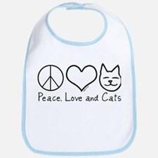 Peace, Love, and Cats! Bib