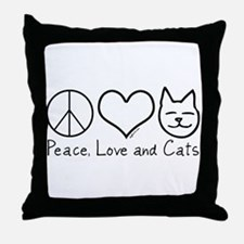 Peace, Love, and Cats! Throw Pillow