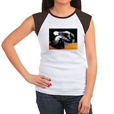 Black and White Cat Posing on Ochre Women's Cap Sl
