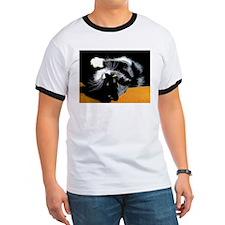 Black and White Cat Posing on Ochre T