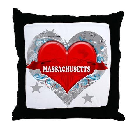 My Heart Massachusetts Vector Throw Pillow