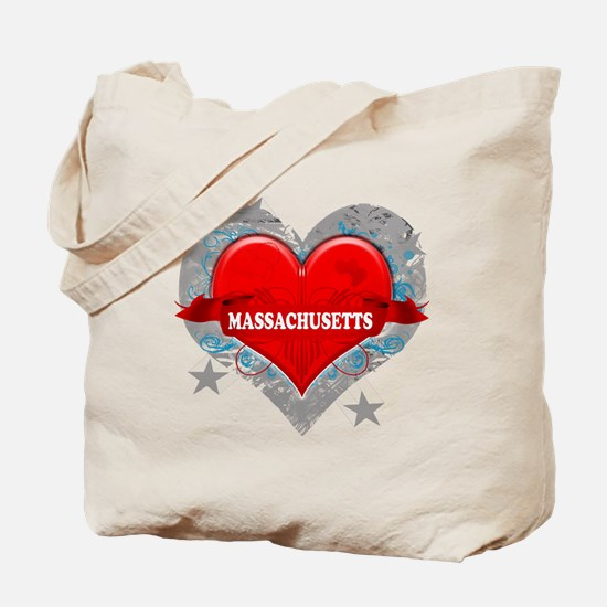 My Heart Massachusetts Vector Tote Bag