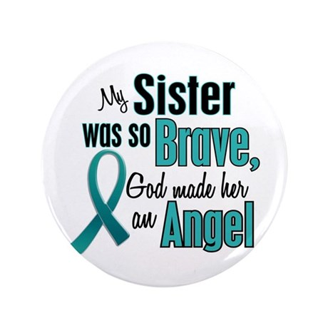 """Angel 1 TEAL (Sister) 3.5"""" Button"""