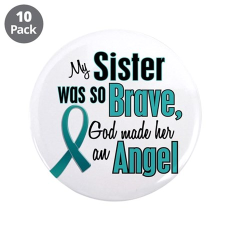 """Angel 1 TEAL (Sister) 3.5"""" Button (10 pack)"""
