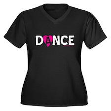 Love Dance Heart Women's Plus Size V-Neck Dark T-S