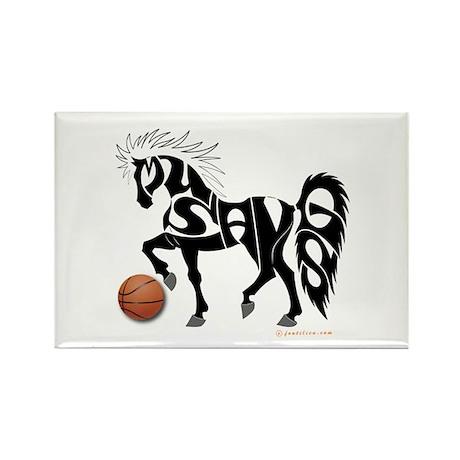 Basketball Team Mustangs (Black Design) Rectangle