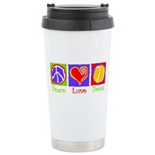 Peace Love Tennis Ceramic Travel Mug