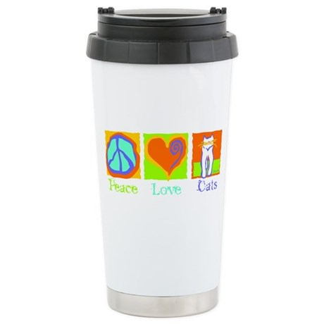 Peace Love Cats Stainless Steel Travel Mug