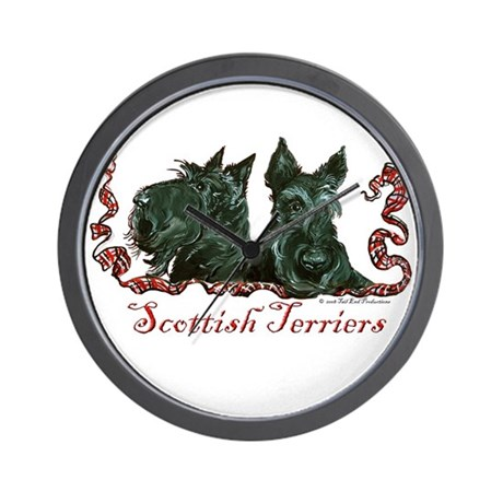 Scottish Terrier Pair Wall Clock