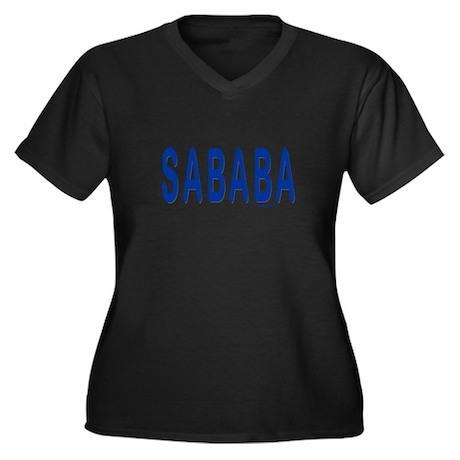 SABABA AWESOME Women's Plus Size V-Neck Dark T-Shi