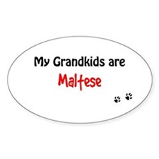 Maltese Grandkids Oval Decal