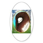 Opal Jacobin Pigeon Oval Sticker (10 pk)