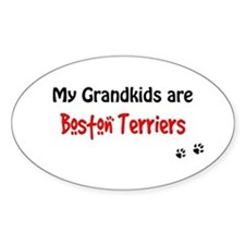 Boston Terrier Grandkids Oval Decal