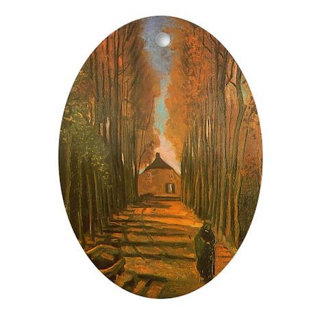 Van Gogh Avenue of Poplars Oval Ornament