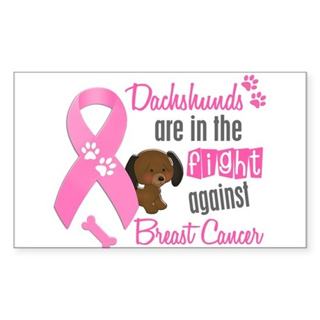 Dachshunds Against Breast Cancer 2 Sticker (Rectan