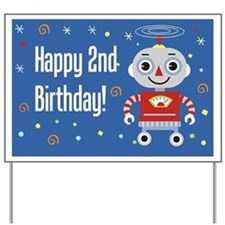 Retro Robot 2nd Birthday Yard Sign
