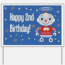 Retro Robot 2nd Birthday Yard Sign