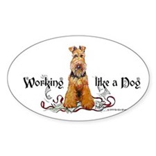 Working Airedale Terrier Oval Decal
