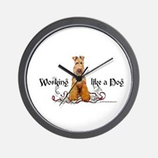 Working Airedale Terrier Wall Clock