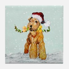 Winter Airedale Tile Coaster