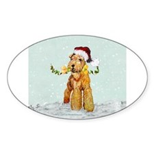 Winter Airedale Oval Decal