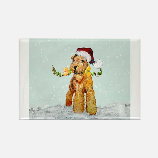 Winter Airedale Rectangle Magnet