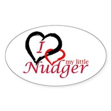I Love My Little Nudger Oval Decal