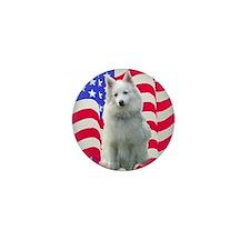 American Eskimo with flag Mini Button