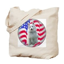 American Eskimo with flag Tote Bag