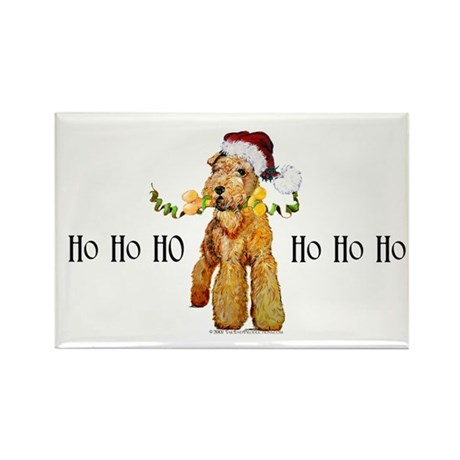 Santa Airedale Terrier Rectangle Magnet (10 pack)