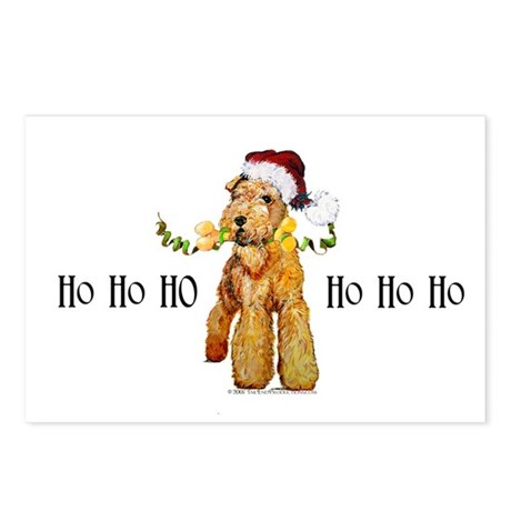 Santa Airedale Terrier Postcards (Package of 8)