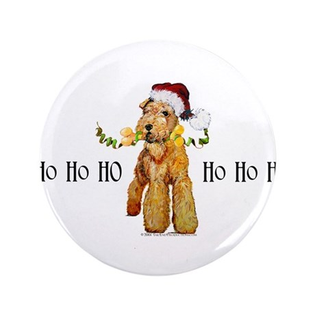 "Santa Airedale Terrier 3.5"" Button (100 pack)"