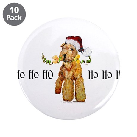 "Santa Airedale Terrier 3.5"" Button (10 pack)"