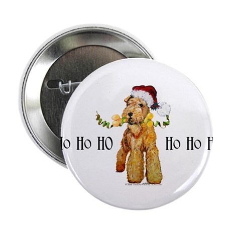 "Santa Airedale Terrier 2.25"" Button (10 pack)"