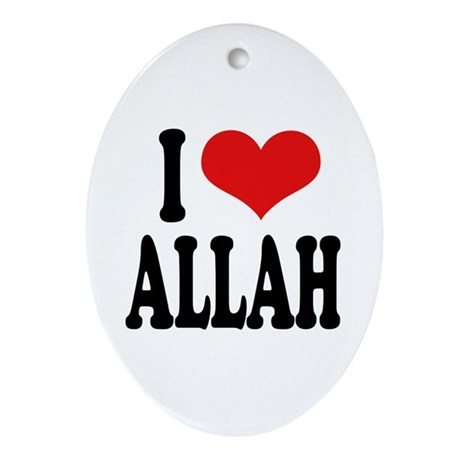 I Love Allah Oval Ornament