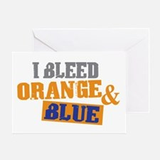 Bleed Orange Blue Greeting Card
