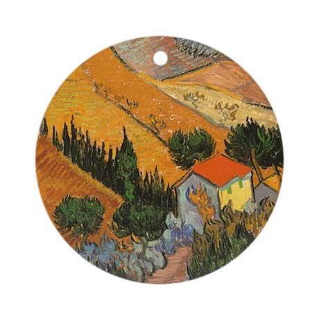 Van Gogh Valley Ploughman Ornament (Round)