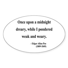 Edgar Allan Poe 14 Oval Decal