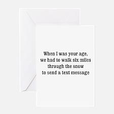 texting thru the snow Greeting Card