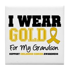 I Wear Gold Grandson Tile Coaster