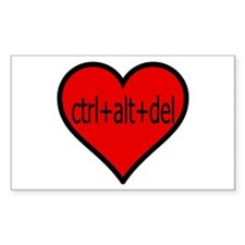 CTRL+ALT+DEL Heart Rectangle Decal