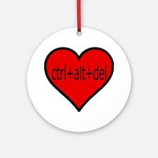 CTRL+ALT+DEL Heart Ornament (Round)