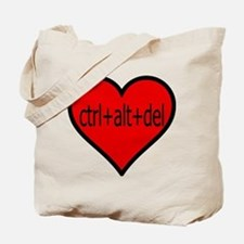 CTRL+ALT+DEL Heart Tote Bag